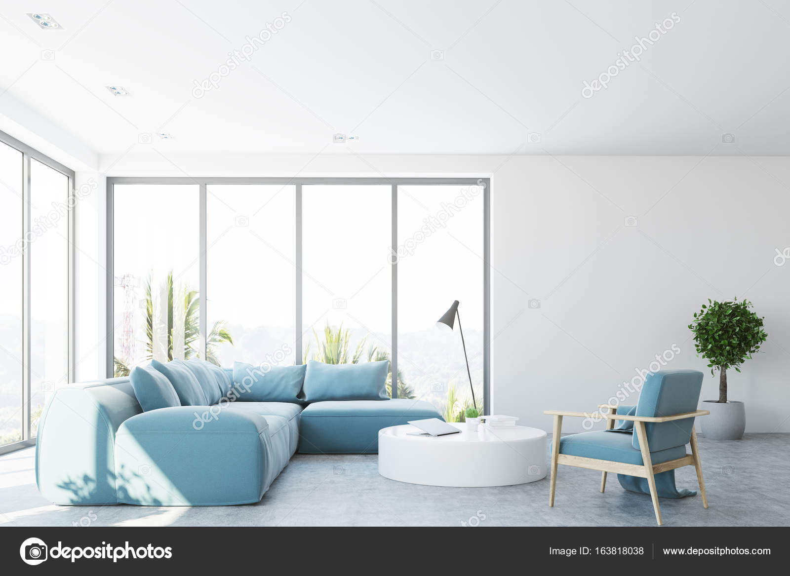 White living room interior with a blue sofa, front — Stock Photo ...