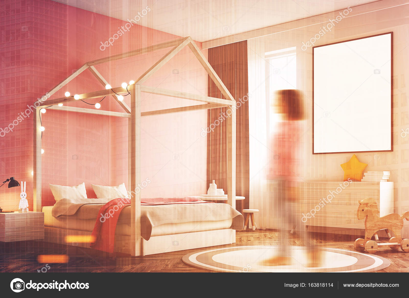 Interno camera da letto di ragazza s, poster, angolo, donna — Foto ...