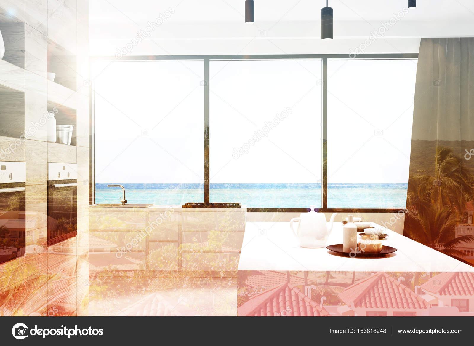 Keuken Bar Design : Witte en houten keuken bar dubbele u stockfoto denisismagilov