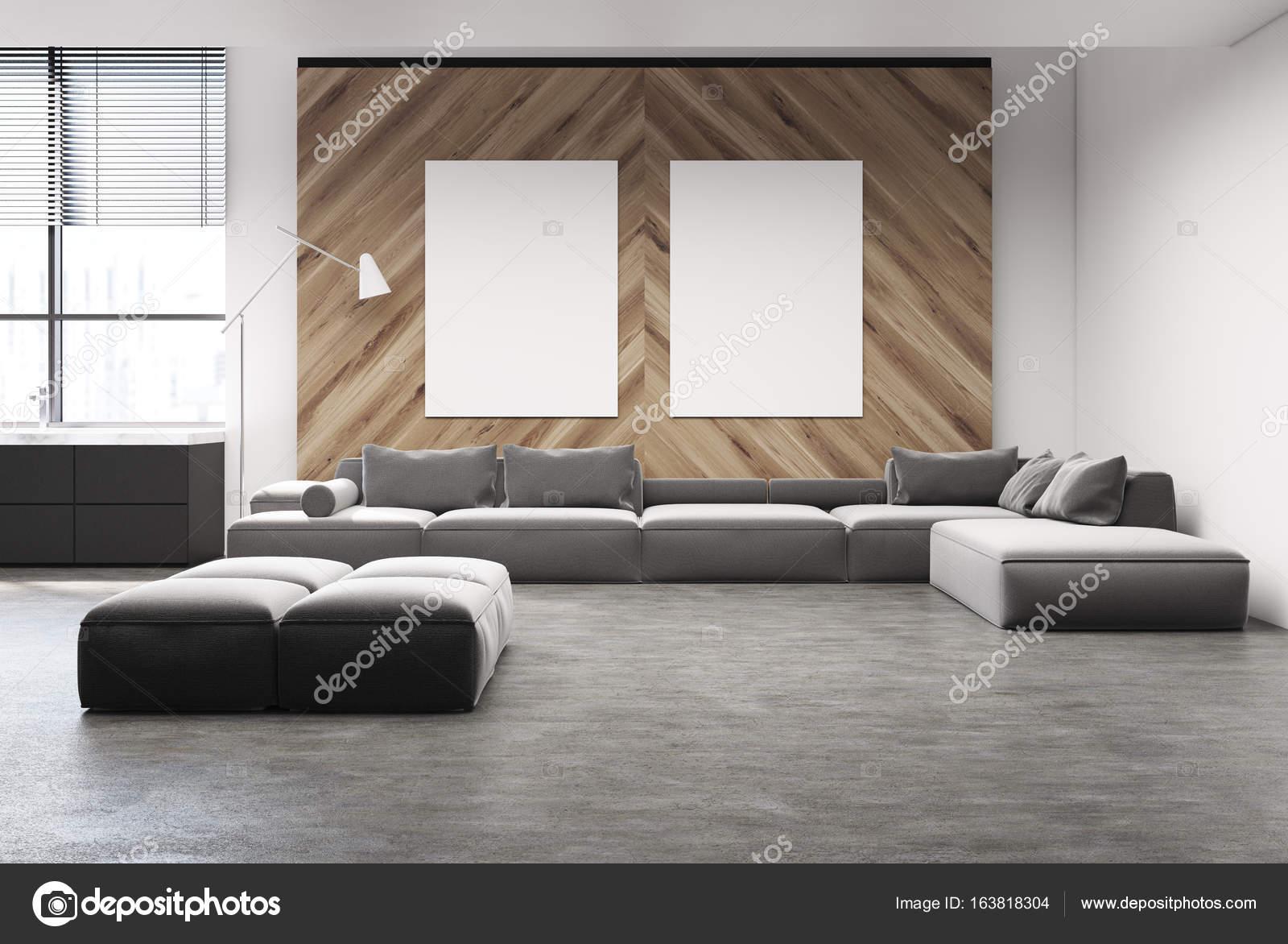 Grijze bank woonkamer met twee posters — Stockfoto © denisismagilov ...