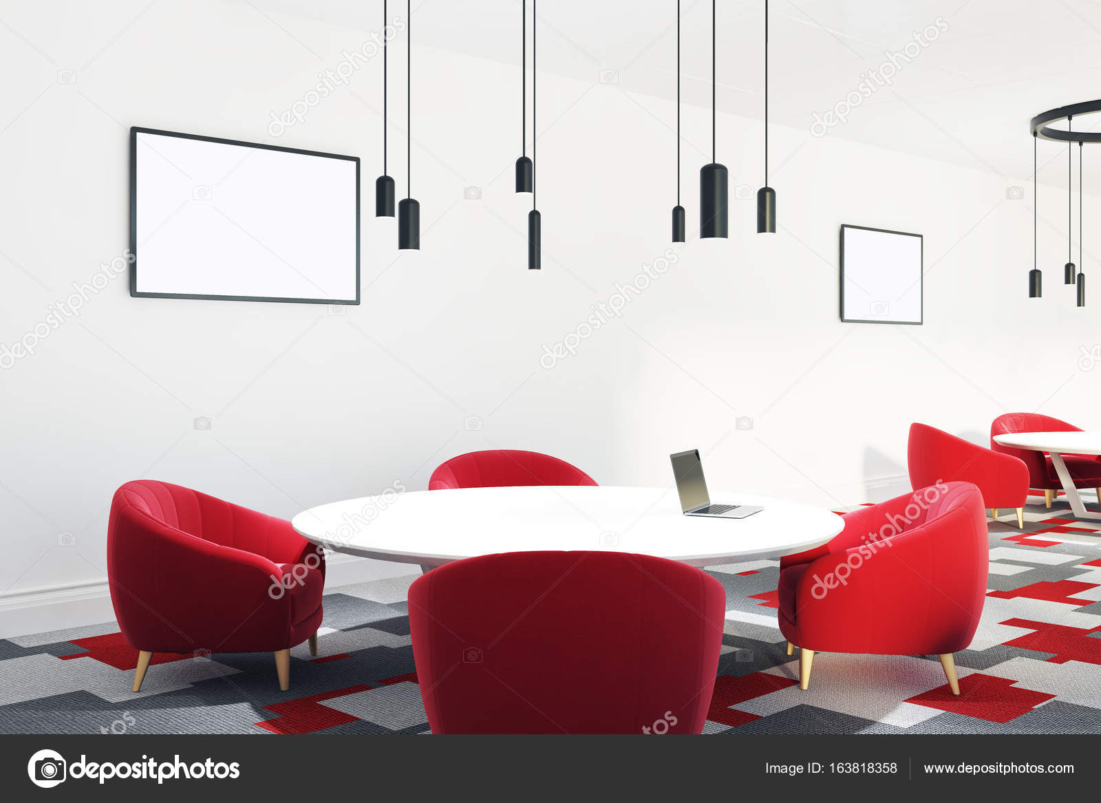 Open Office With Red Chairs Posters Round Stock Photo