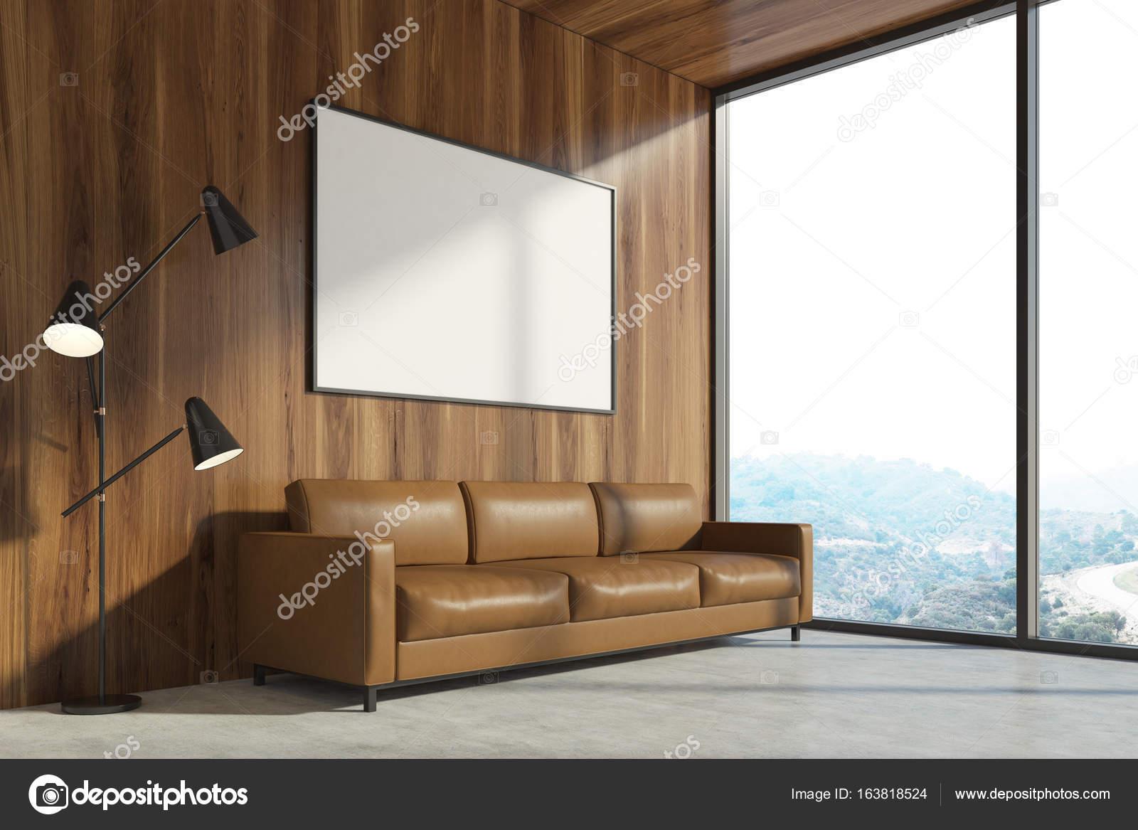 Hölzerne wohnzimmer braun sofa poster u2014 stockfoto © denisismagilov