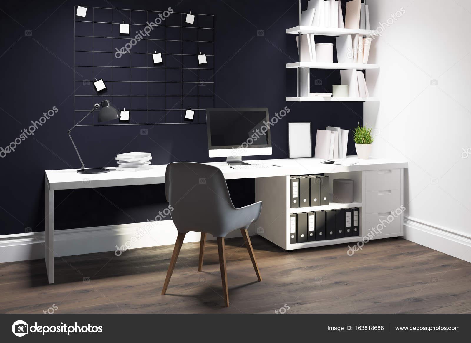 Chaise de bureau à domicile blanc mur noir u photographie
