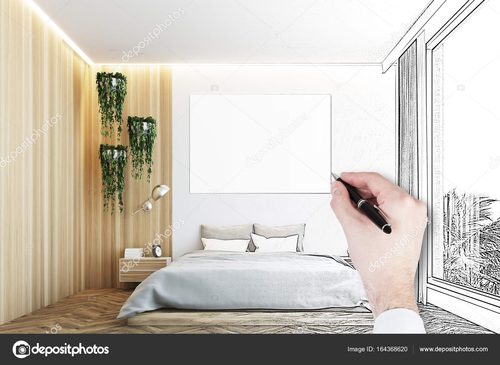 Grau Und Holz Schlafzimmer Plakat Hand Stockfoto