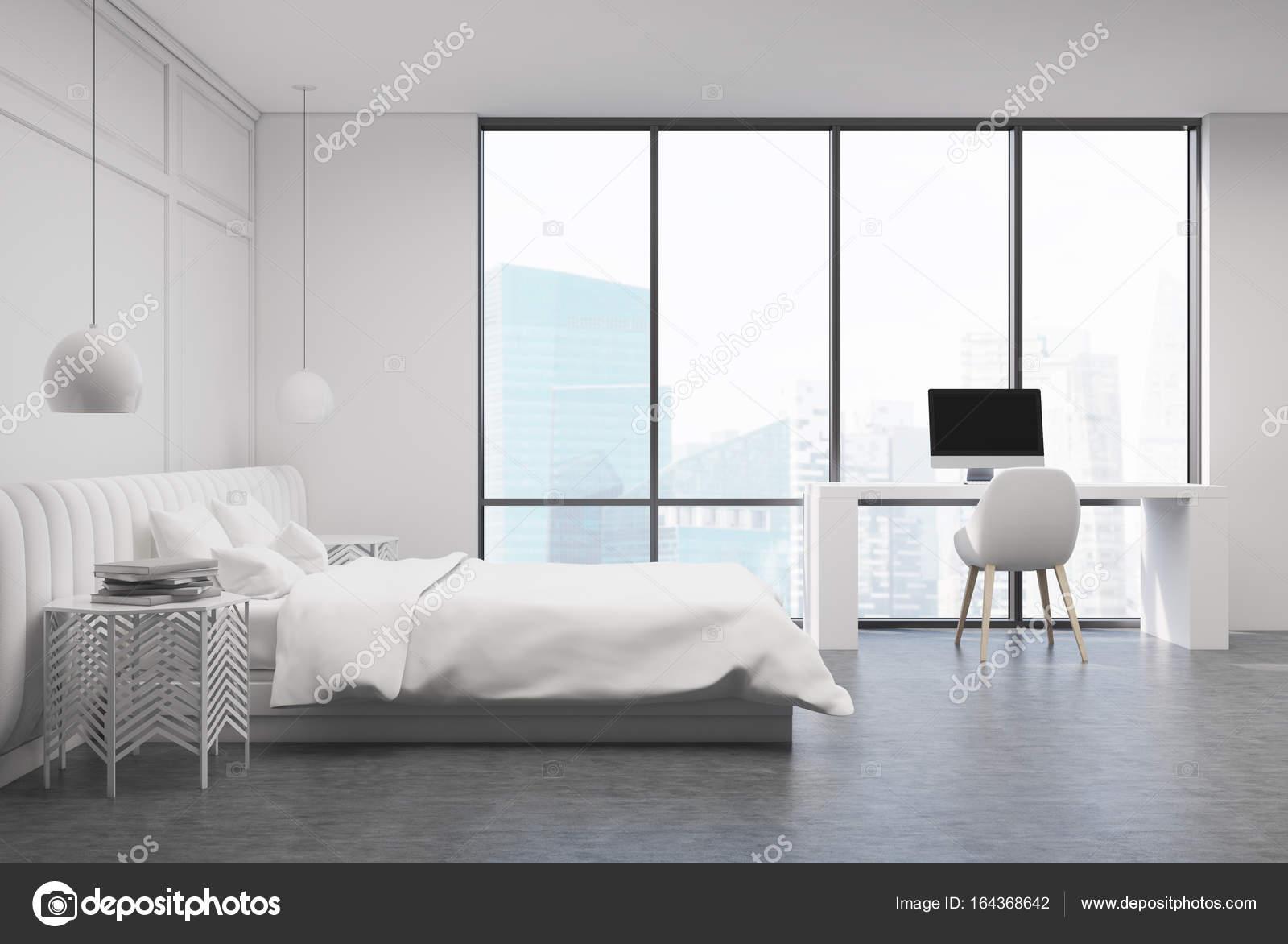Chambre blanche avec un bureau à domicile côté u photographie