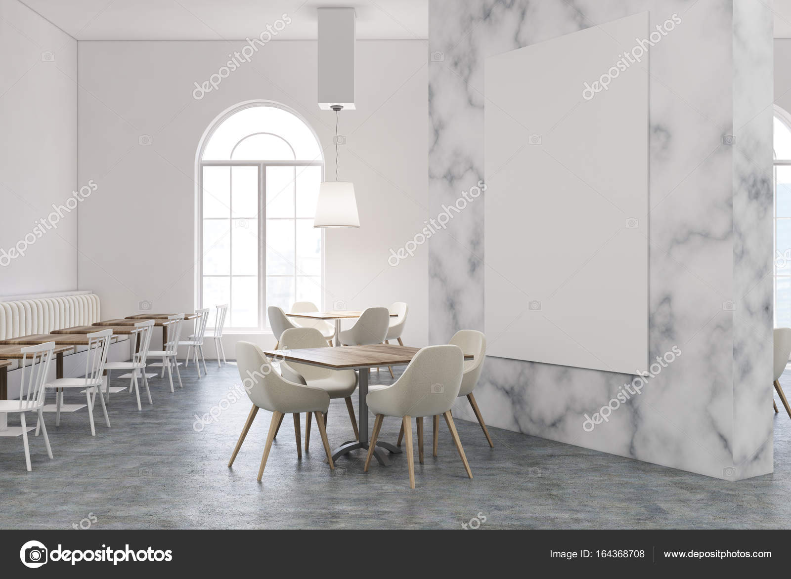 White Marble Restaurant Interior With A White And Wooden Floor, Wooden  Tables And White Chairs. A Large Poster On The Wall. Side View.