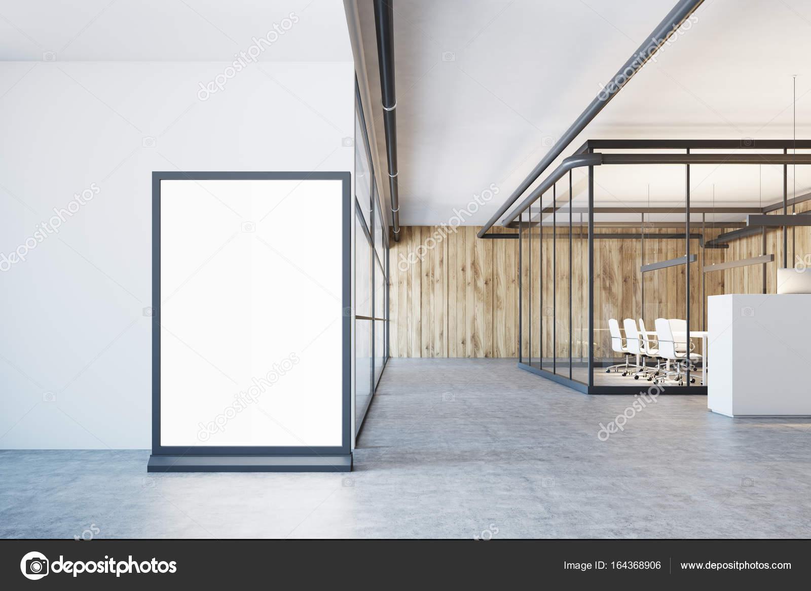 Ufficio Bianco E Legno : Ingresso dell ufficio bianco e legno poster u foto stock