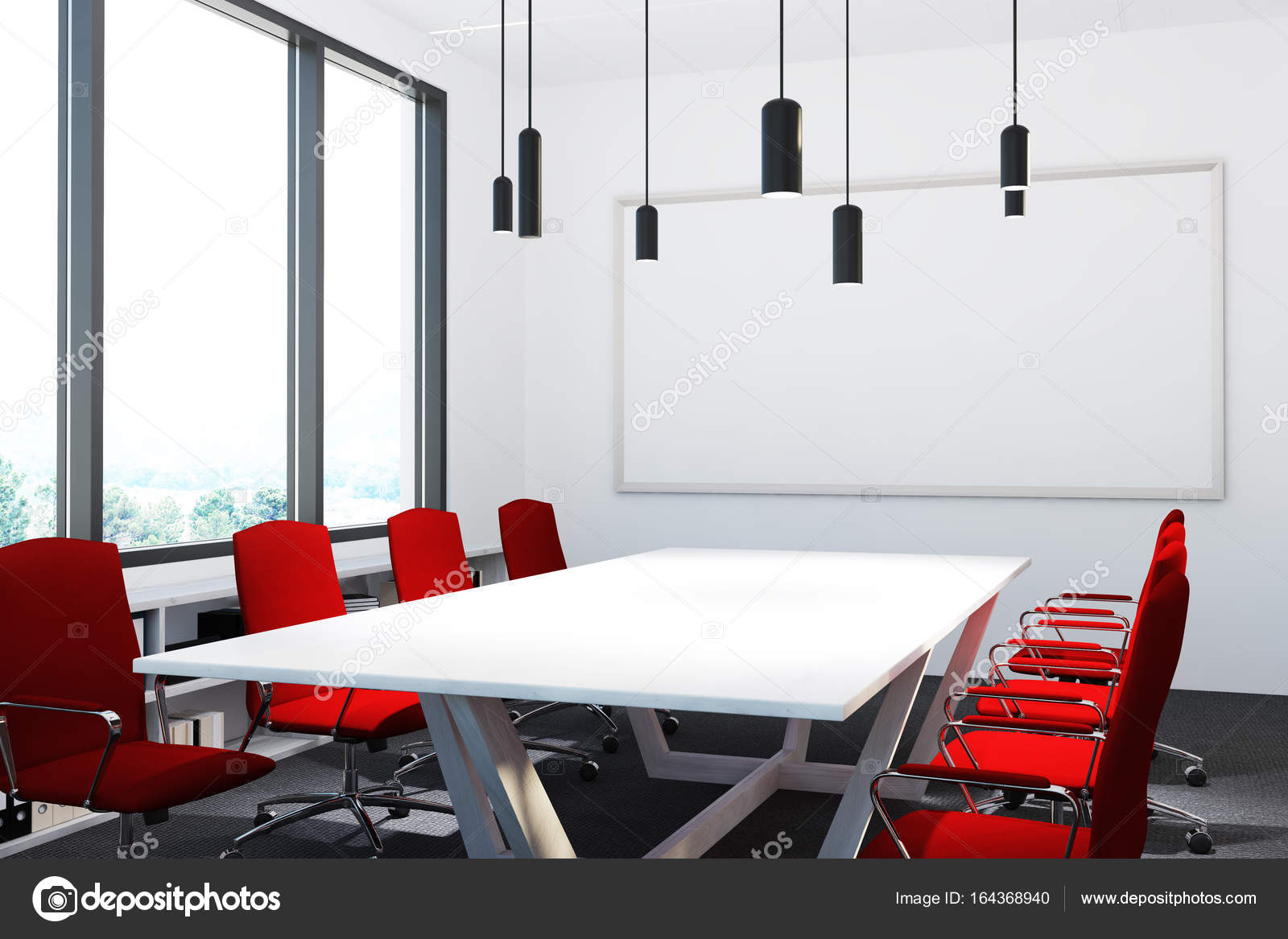 Meeting Room With Red Chairs Whiteboard Stock Photo - Red conference table