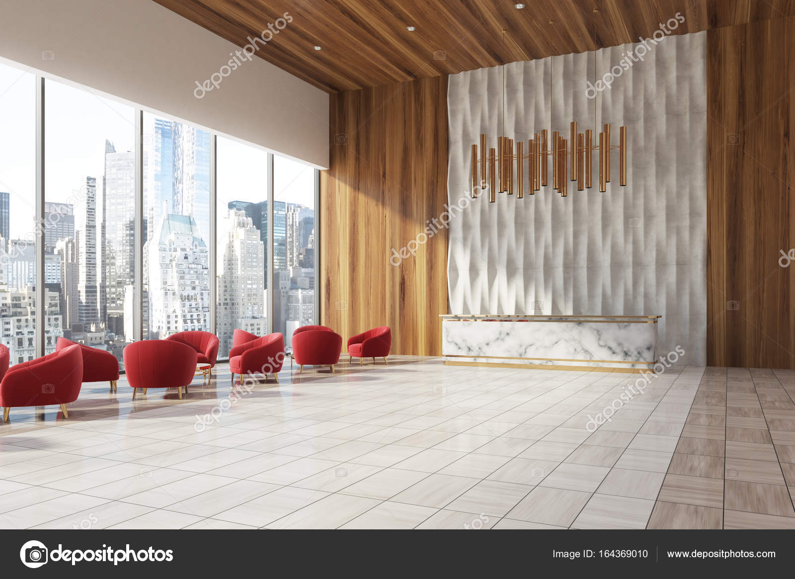 wooden office. Side View Of A Marble Reception Desk Standing In White And Wooden Office Lobby With Red Armchair The Waiting Area. 3d Rendering Mock Up \u2014 Photo By L