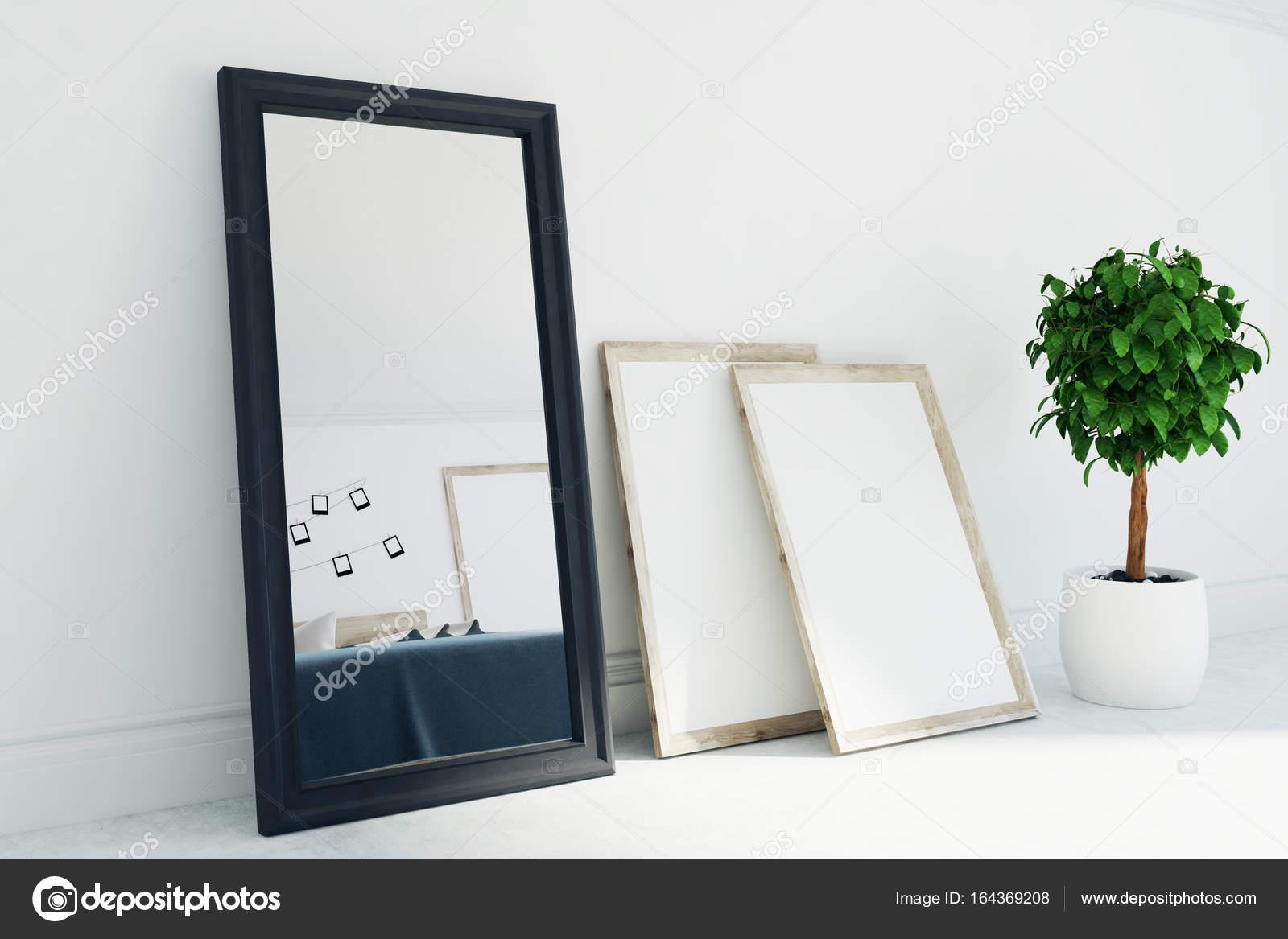 Grau, Wohnzimmer Interieur, Spiegel, Poster, Seite — Stockfoto ...