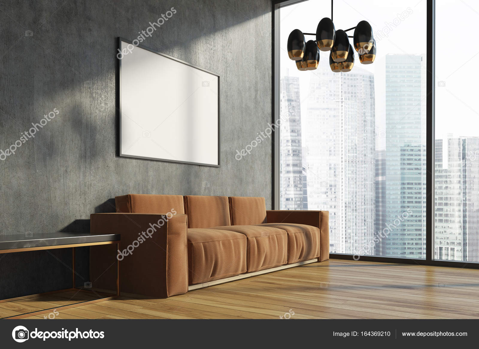 Woonkamer Met Beton : Beton bruin sofa woonkamer poster u2014 stockfoto © denisismagilov