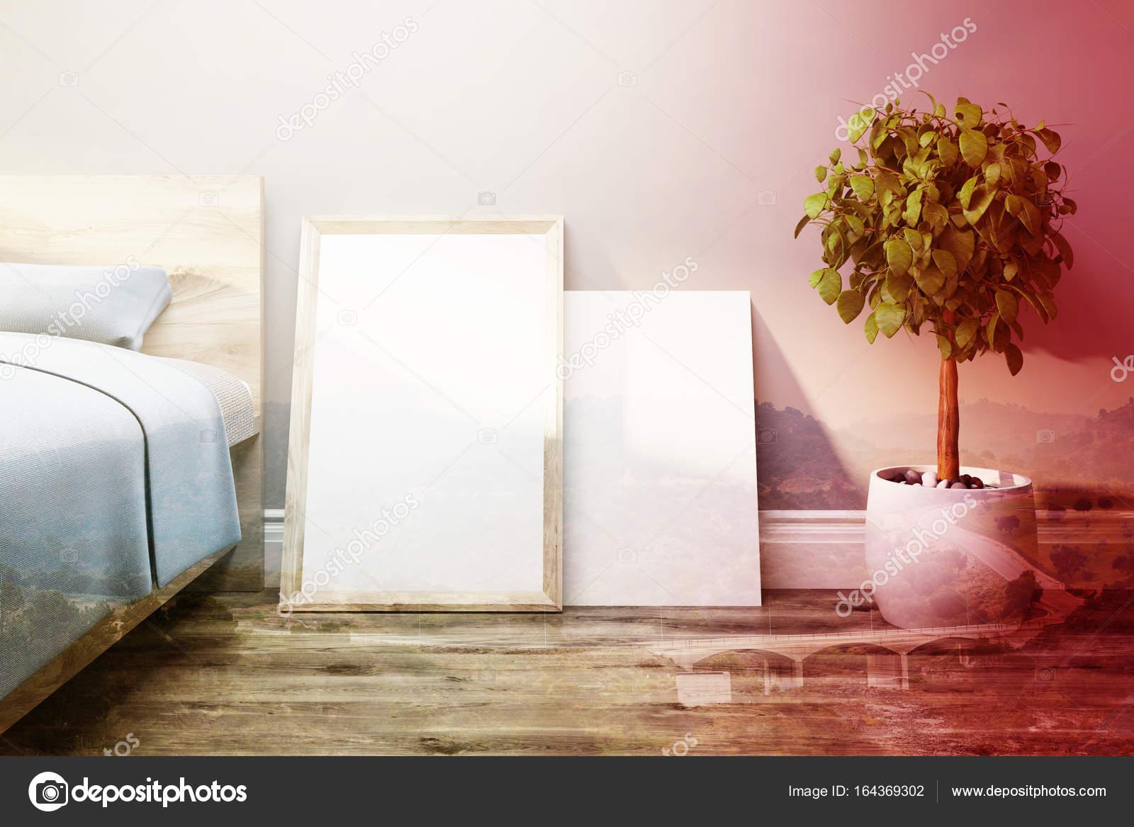 Slaapkamer met posters en een boom, afgezwakt — Stockfoto ...