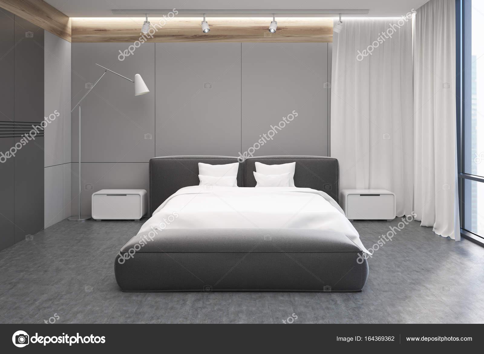 Interno camera da letto grigia e bianca — Foto Stock ...