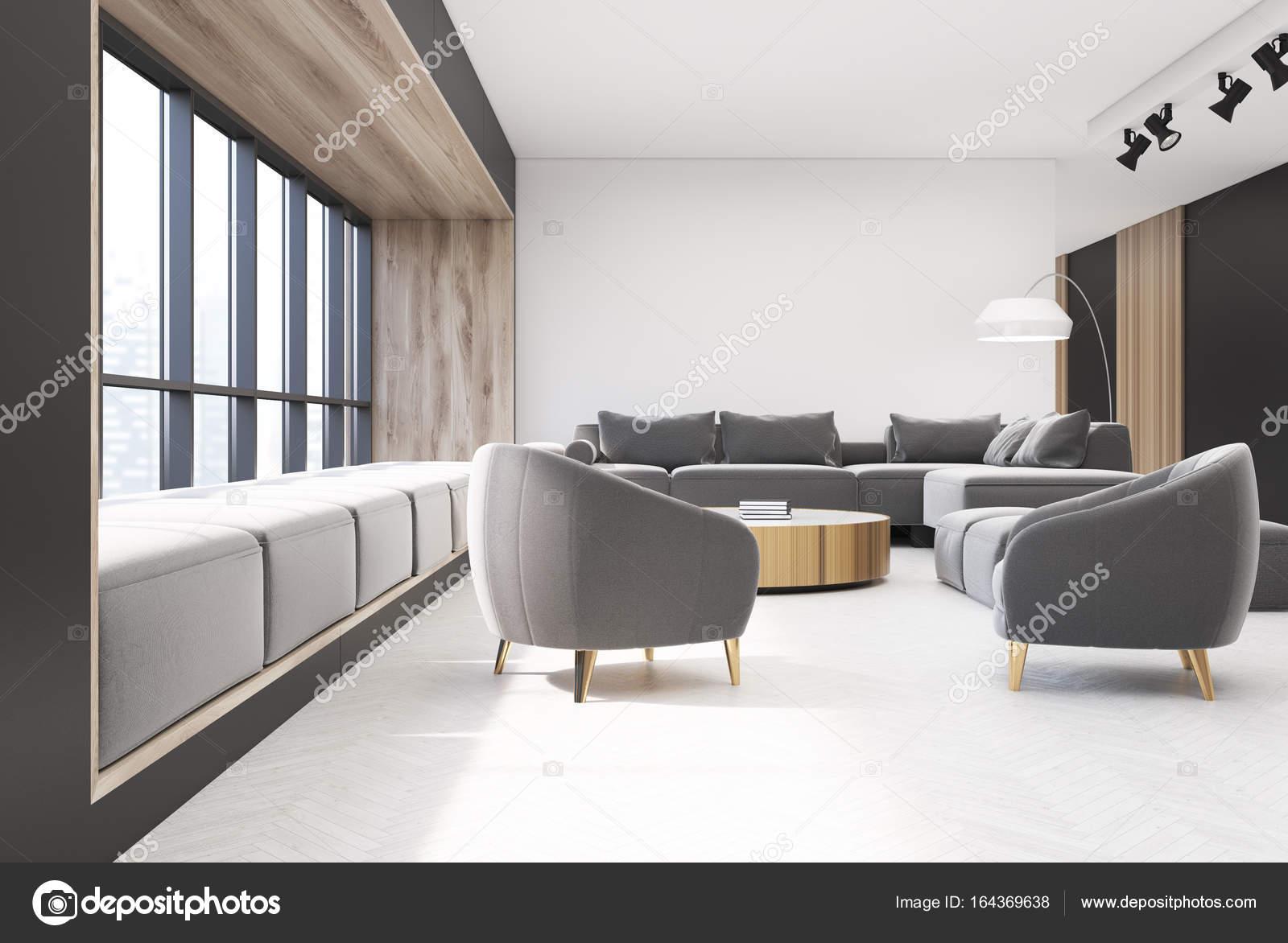 Soggiorno bianco e legno interni, Poltrone — Foto Stock ...