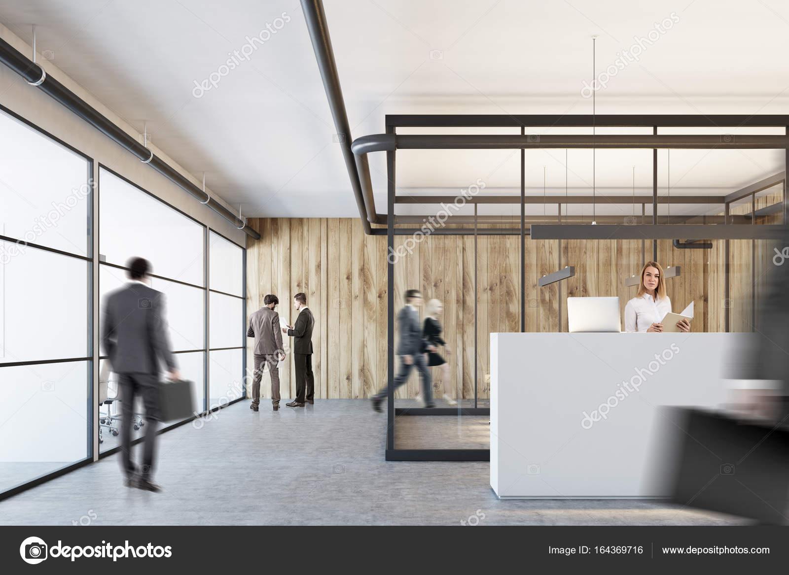Ufficio Bianco E Legno : Reception ufficio bianco in legno e vetro primo piano u foto