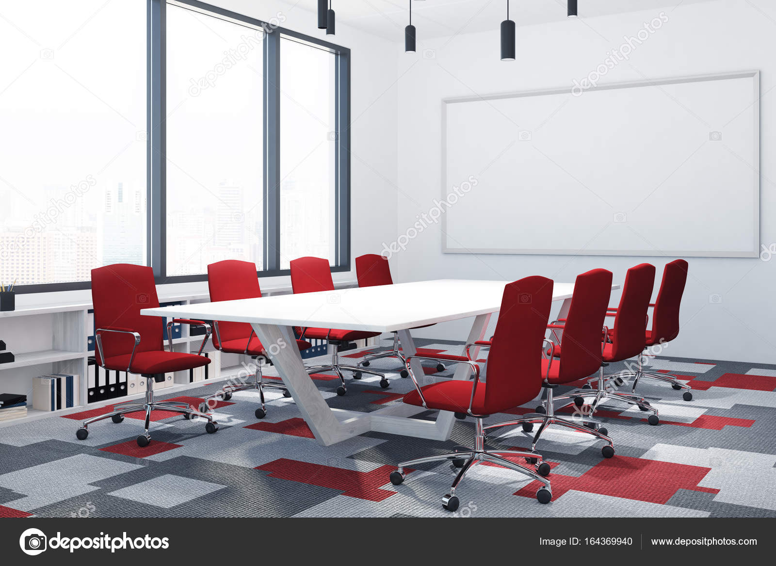 White And Red Conference Room Poster Corner Stock Photo - Red conference table