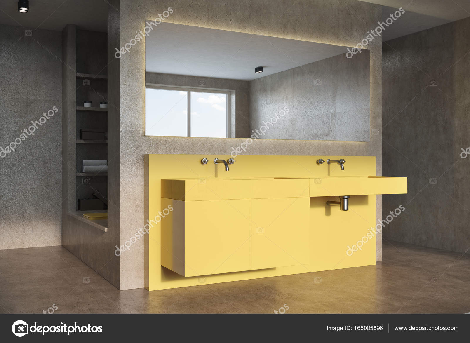 Hoek Wasbak Badkamer : Betonnen gele wastafel badkamer hoek u stockfoto