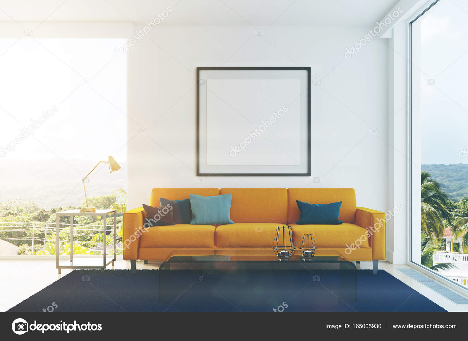 Yellow sofa, blue pillows living room toned — Stock Photo ...