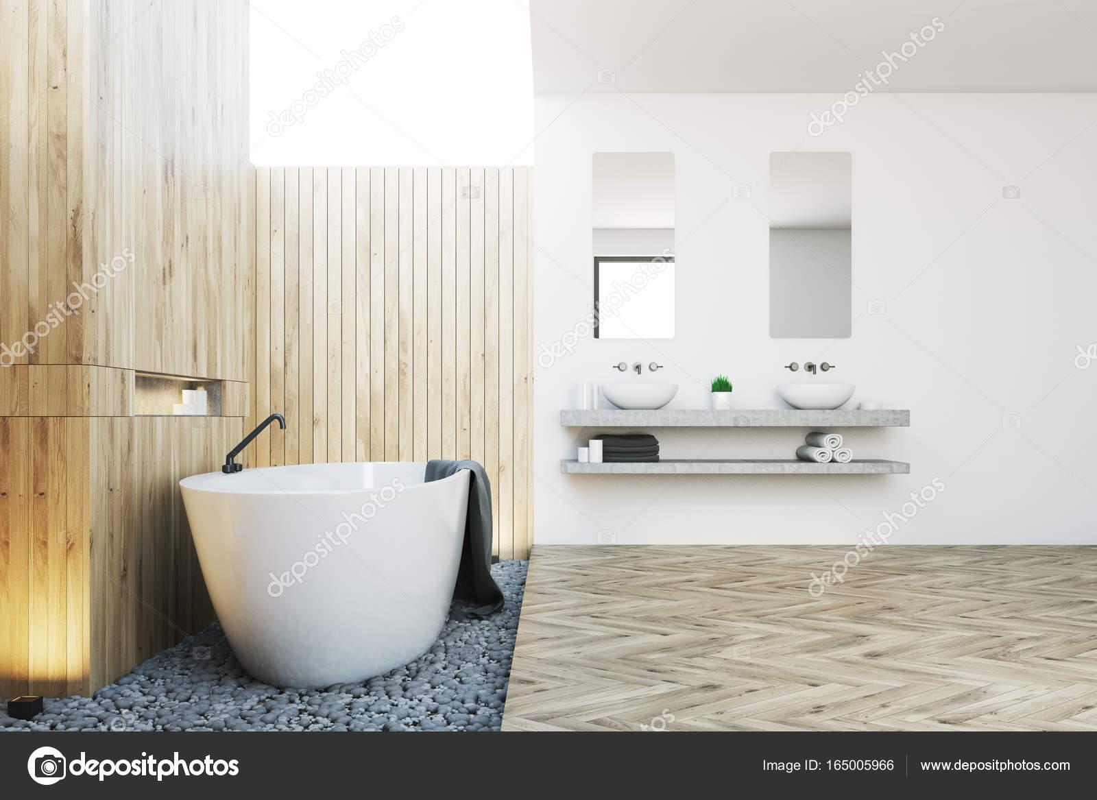 badkamer interieur houten badkamer interieur kant stockfoto