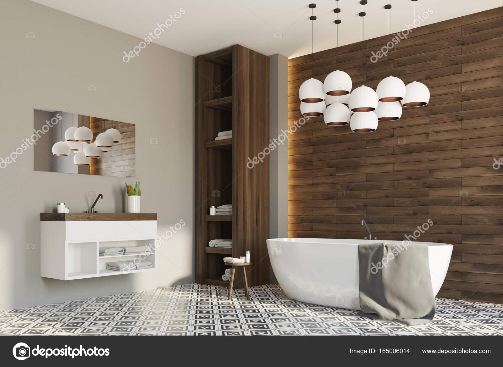 Grijs en houten badkamer, hoek — Stockfoto © denisismagilov #165006014