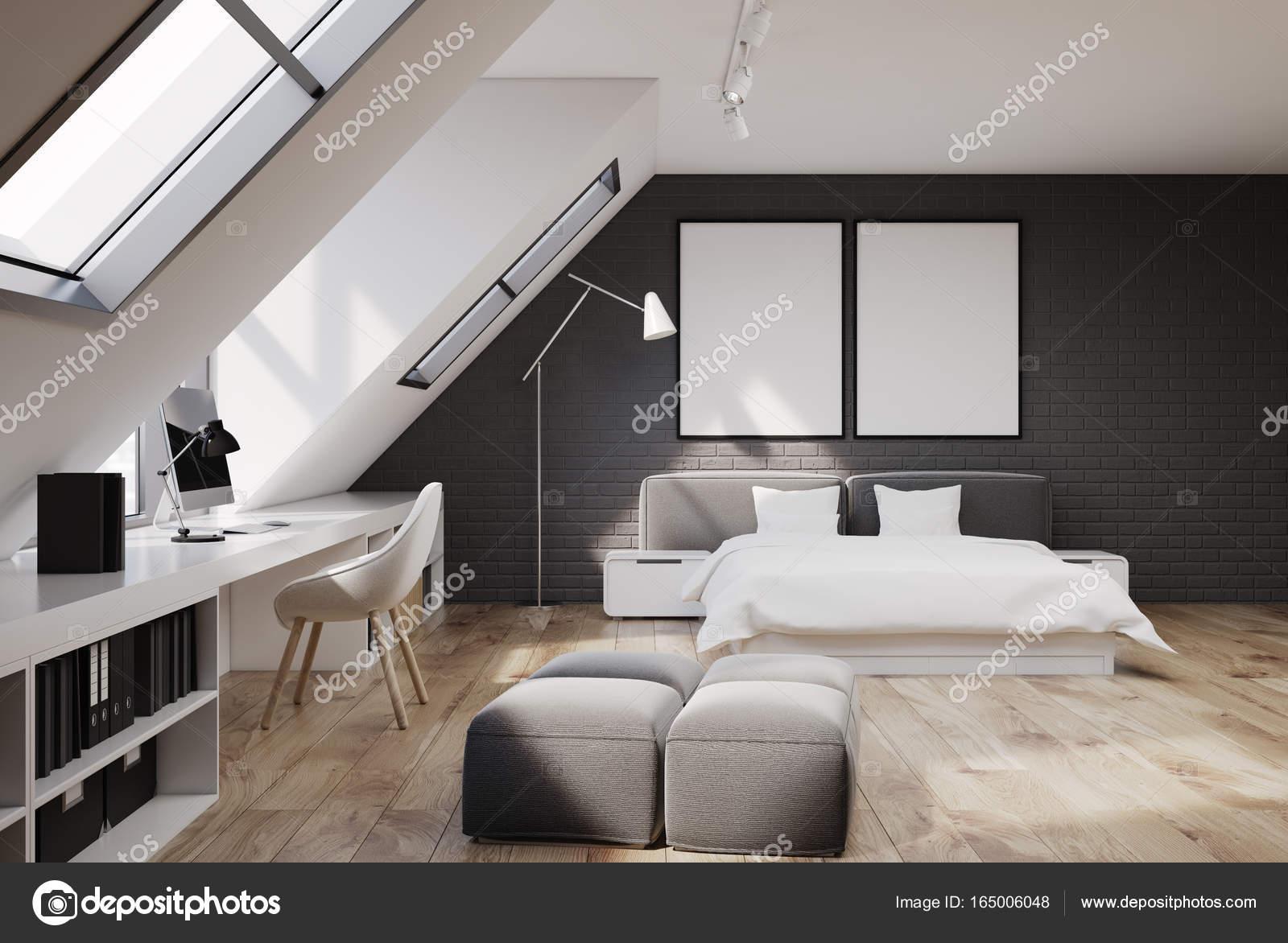 Baksteen muur slaapkamer en kantoor aan huis, houten — Stockfoto ...
