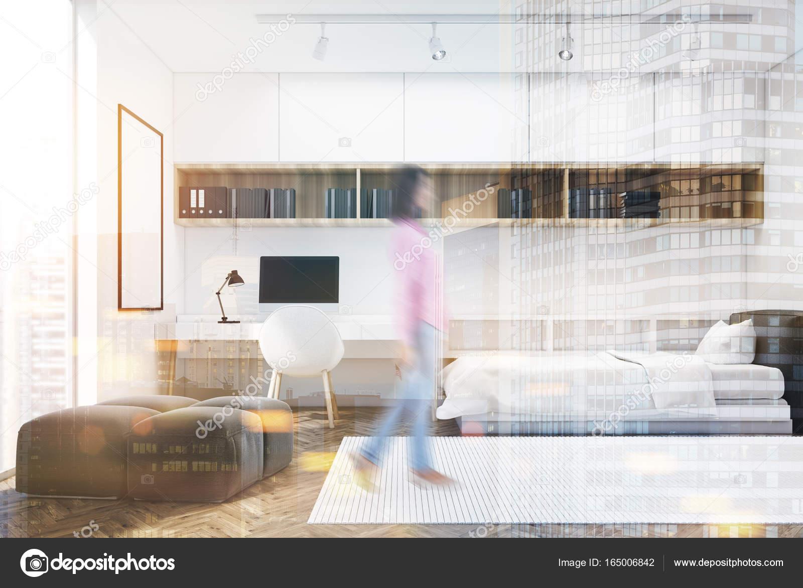 Chambre mur blanc et bureau à domicile maison fille u2014 photographie