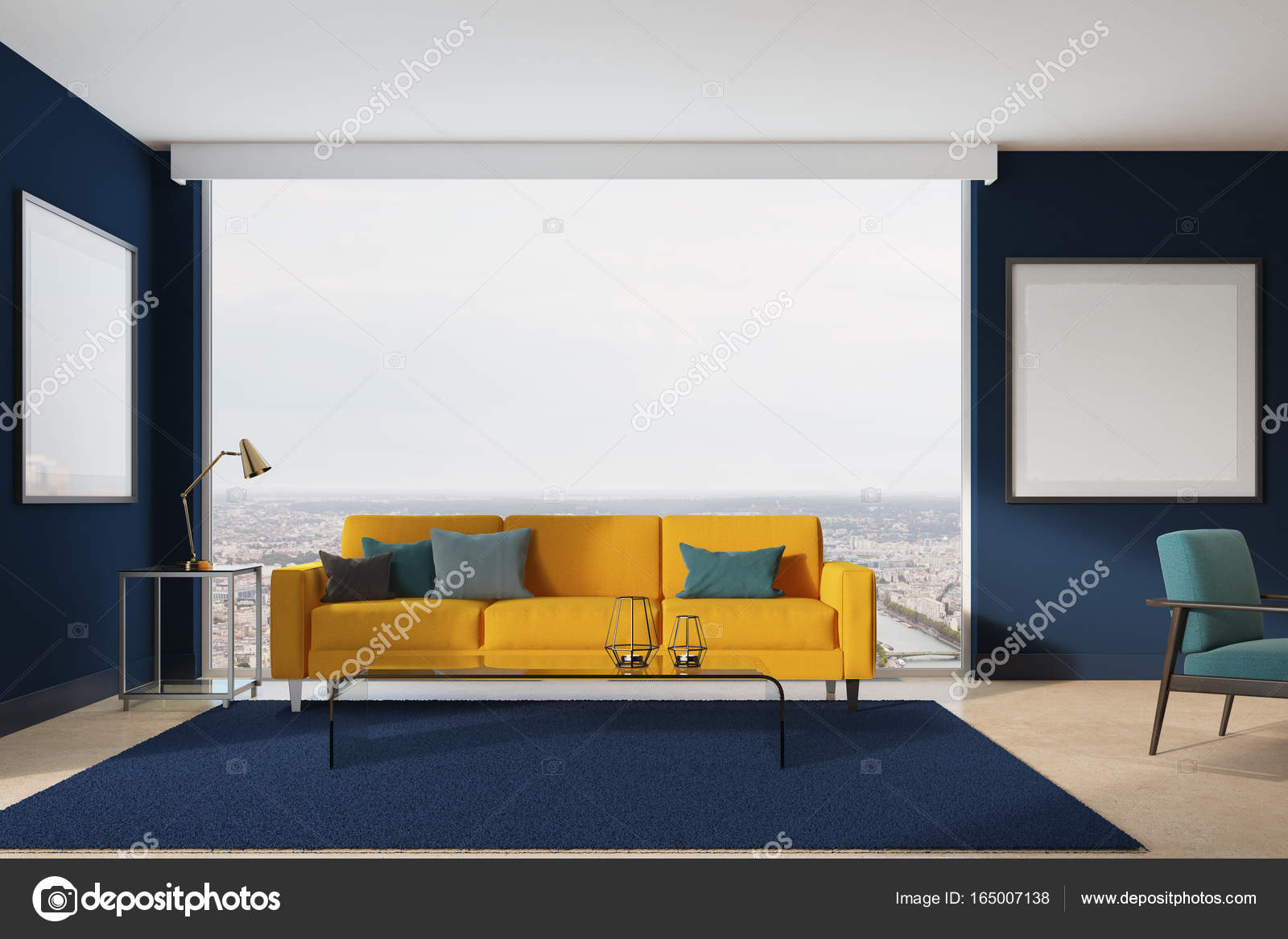Yellow sofa, blue living room — Stock Photo © denisismagilov #165007138