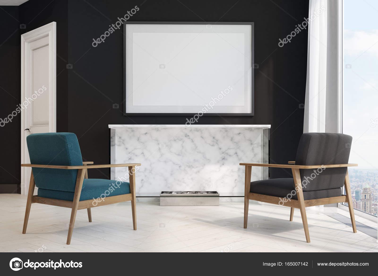 Wohnzimmer Schwarz, blau und schwarz Sessel — Stockfoto ...