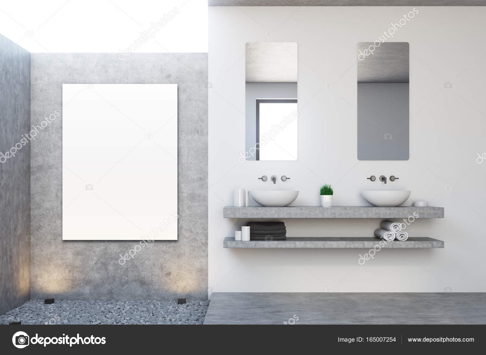 Bagno in calcestruzzo, doppio lavello, poster — Foto Stock ...