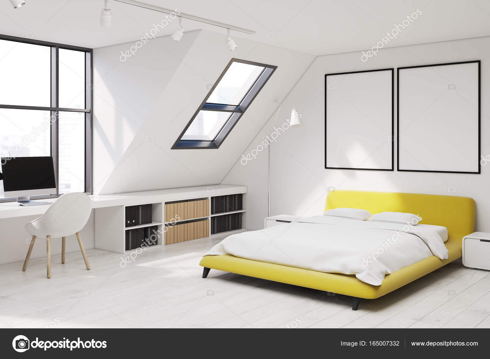 Witte muur slaapkamer en kantoor aan huis hoek — Stockfoto ...