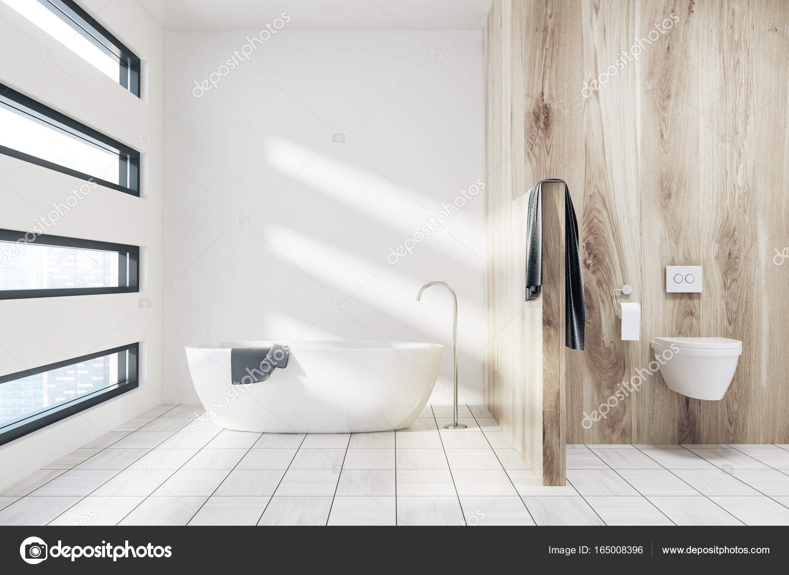Blanc Salle De Bain Avec Une Baignoire Toilettes