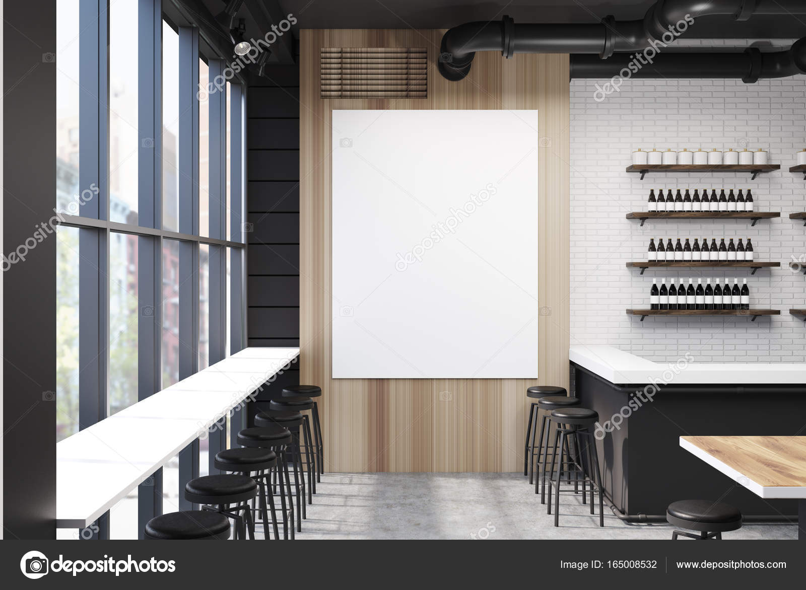 Grigio e bar in legno con un manifesto u foto stock