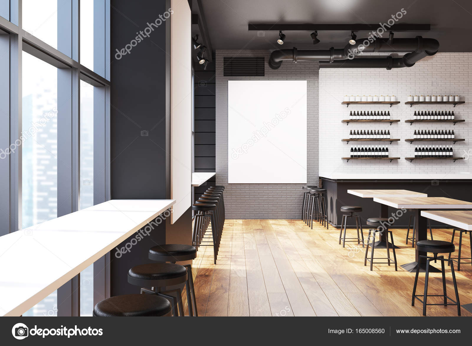 Gray And Brick Bar With A Poster, Front U2014 Stock Photo