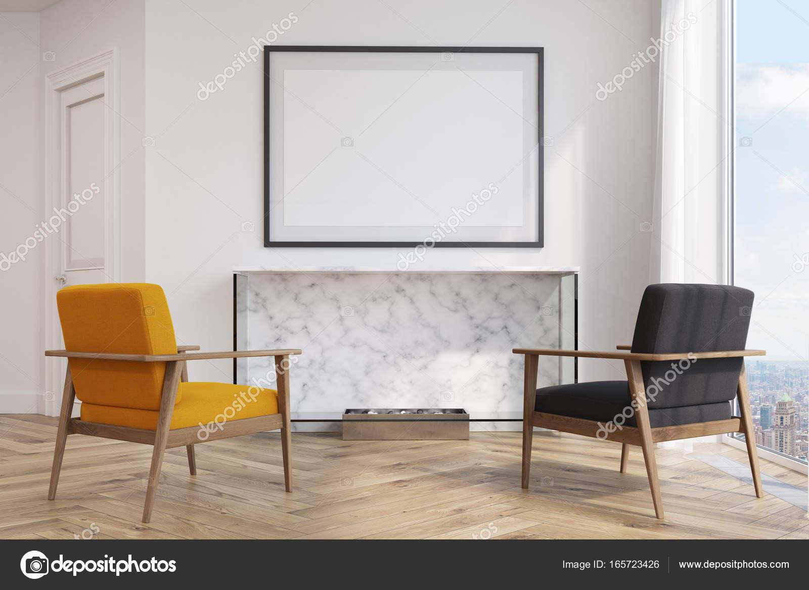 Weiße Wohnzimmer, gelb und schwarz Sessel — Stockfoto ...
