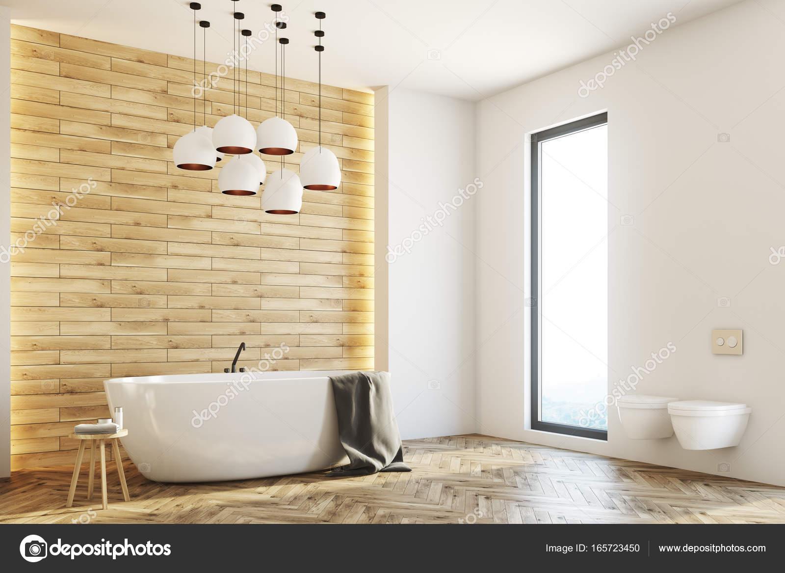 Witte en houten badkamer, hoek — Stockfoto © denisismagilov #165723450