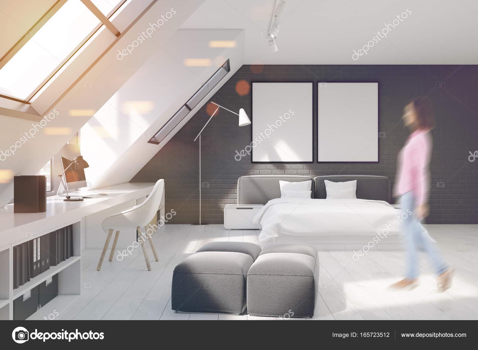 Mur de briques chambre et bureau à domicile femme u photographie