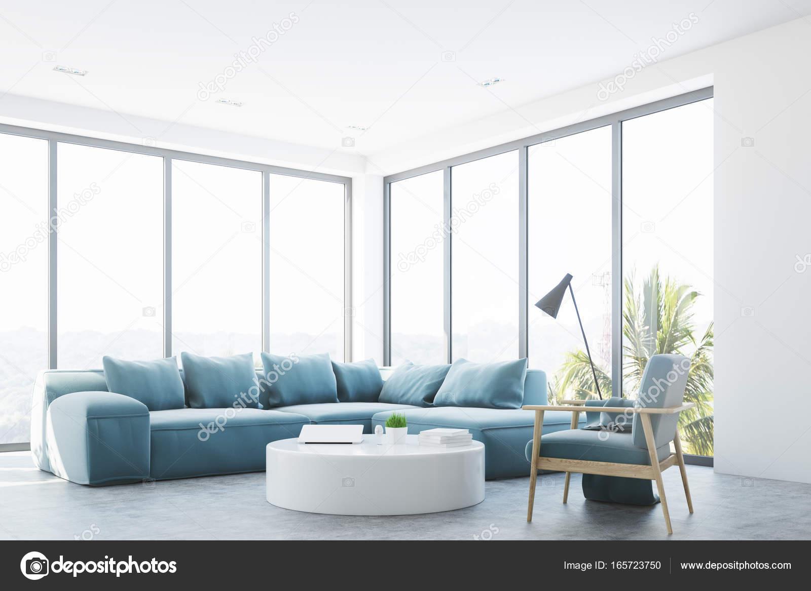 Interior Branco Sala De Estar Com Um Sof Azul Canto Stock Photo  -> Sala De Estar Pequena Azul