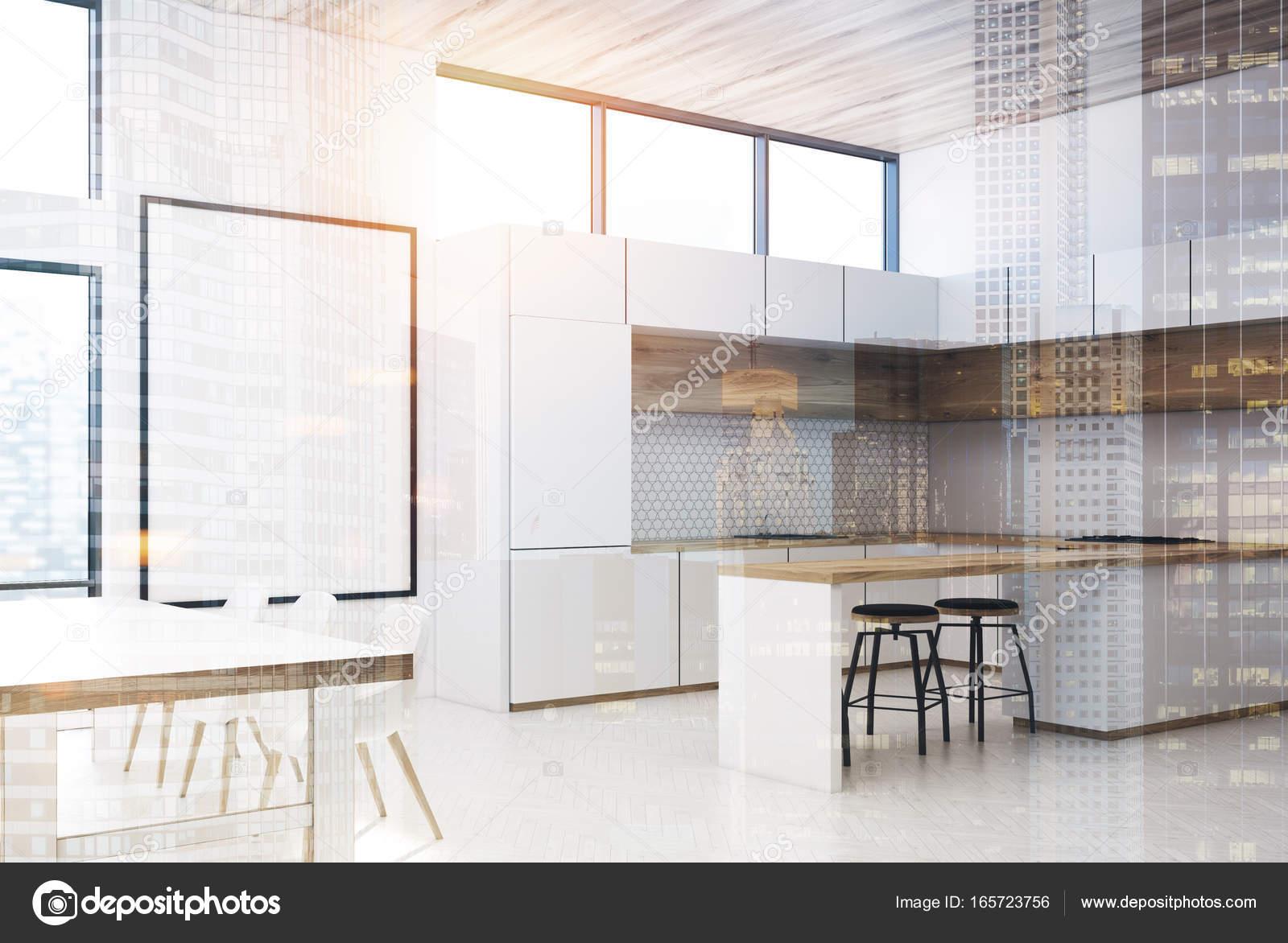 3d Fußboden Küche ~ Weiß und holz küche seite doppelt u2014 stockfoto © denisismagilov