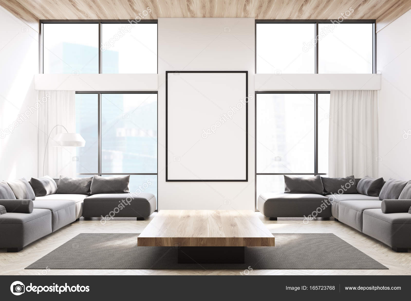Wit woonkamer, grijze banken en een poster — Stockfoto ...