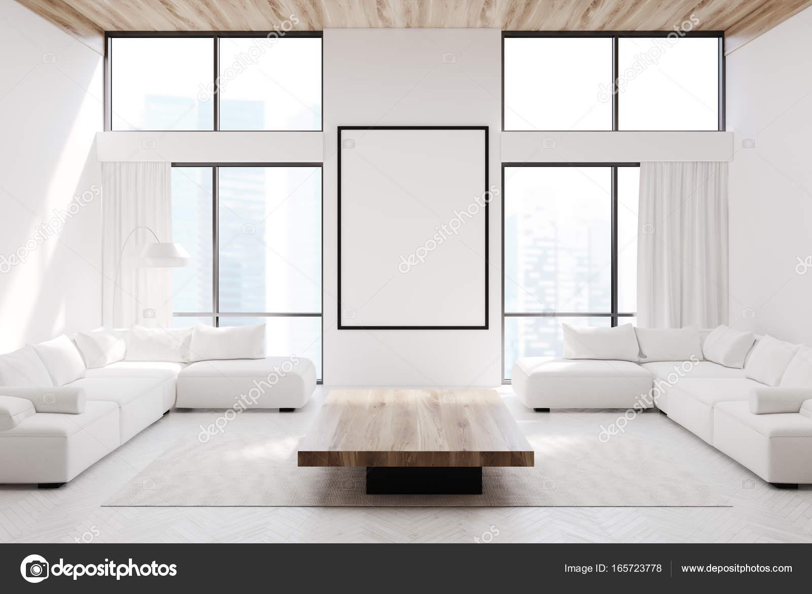 Wit woonkamer, banken en een poster — Stockfoto © denisismagilov ...