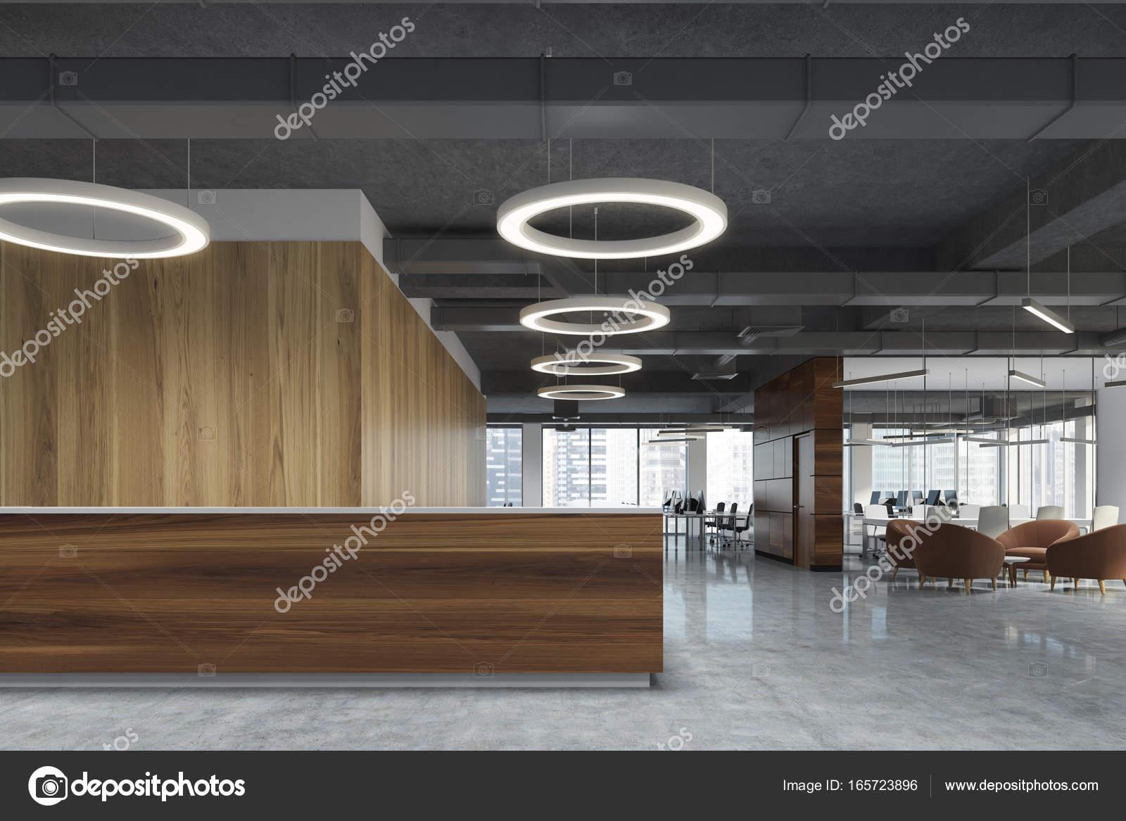 Sombre bois réception au bureau de lampe rond u photographie