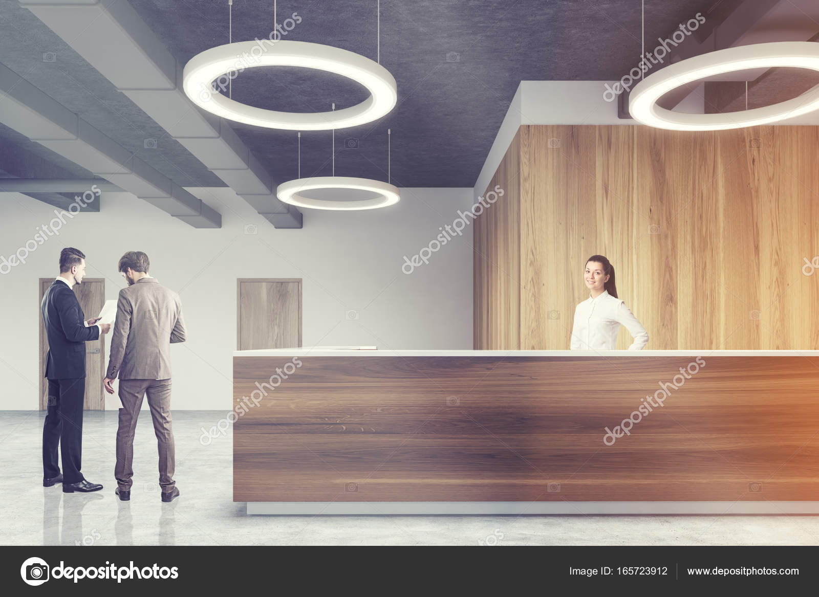 office ceiling lamps. Front View Of A Wooden Reception Desk Standing In Modern Office With Concrete Floor, Light And Gray Walls Round Ceiling Lamps. People. Lamps X