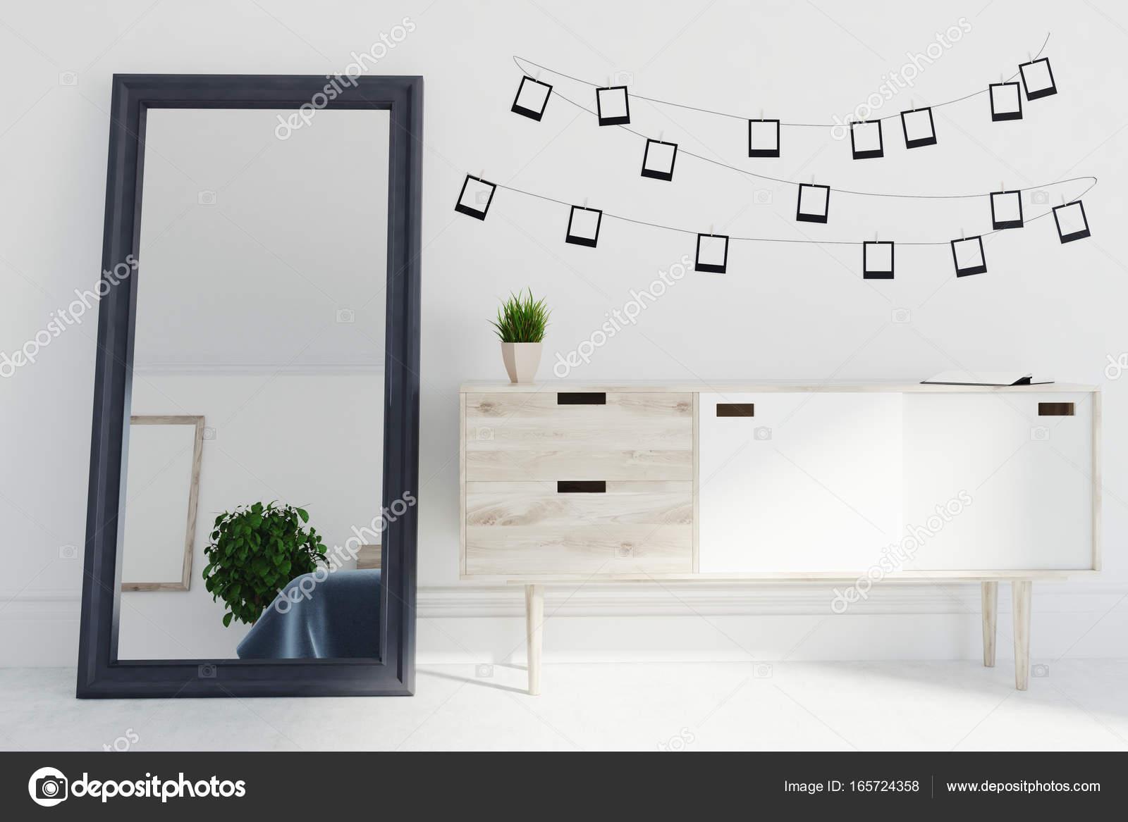 Gray living room interior, mirror, photos, closet — Stock Photo ...