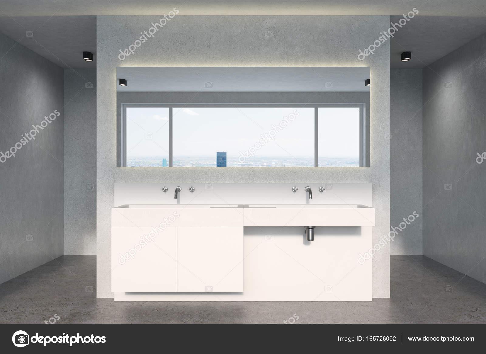 Évier de salle de bain béton, blanc — Photographie denisismagilov ...