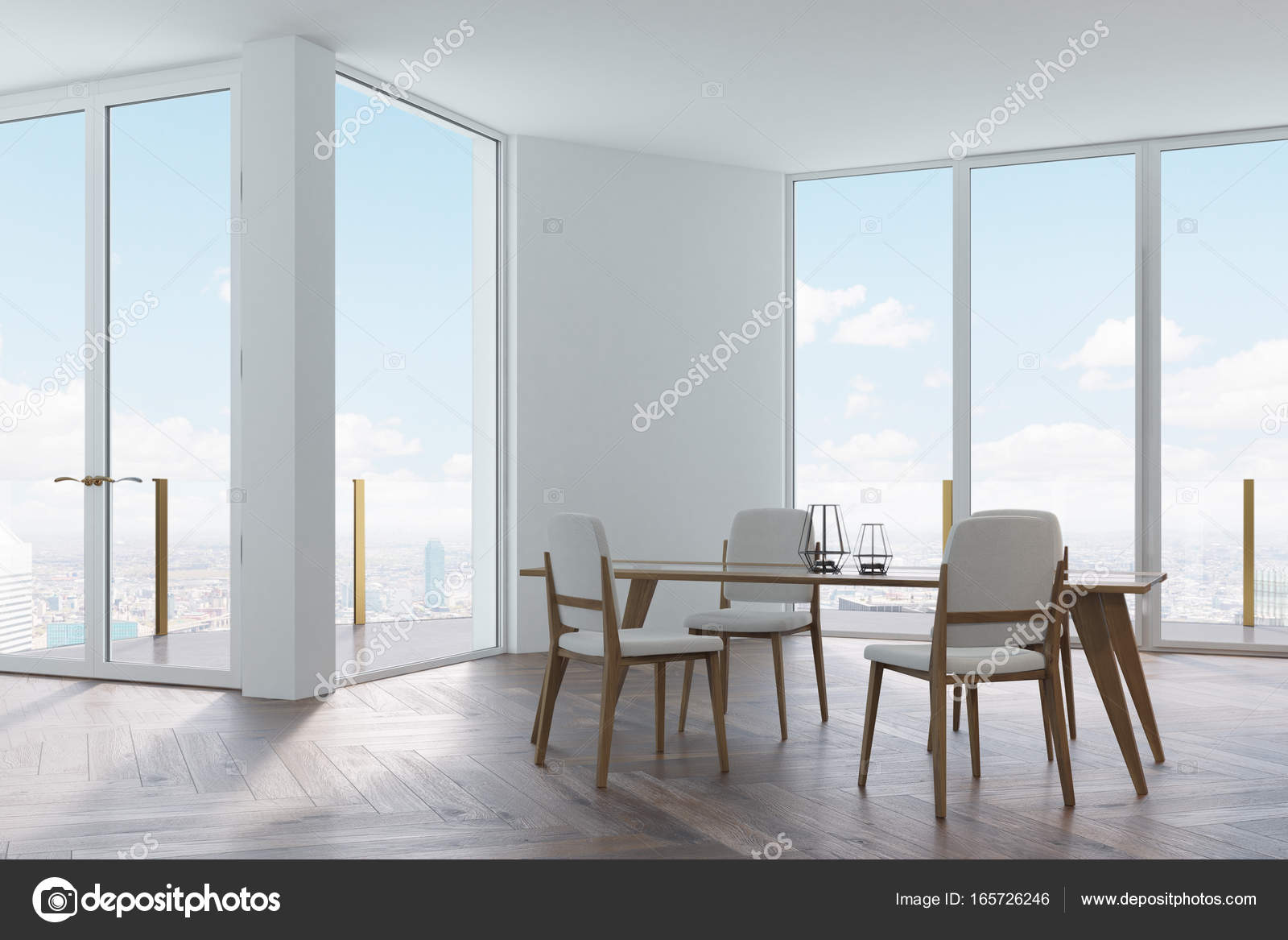Sedie Bianche E Legno : Bianco sala da pranzo sedie in legno e bianchi u2014 foto stock