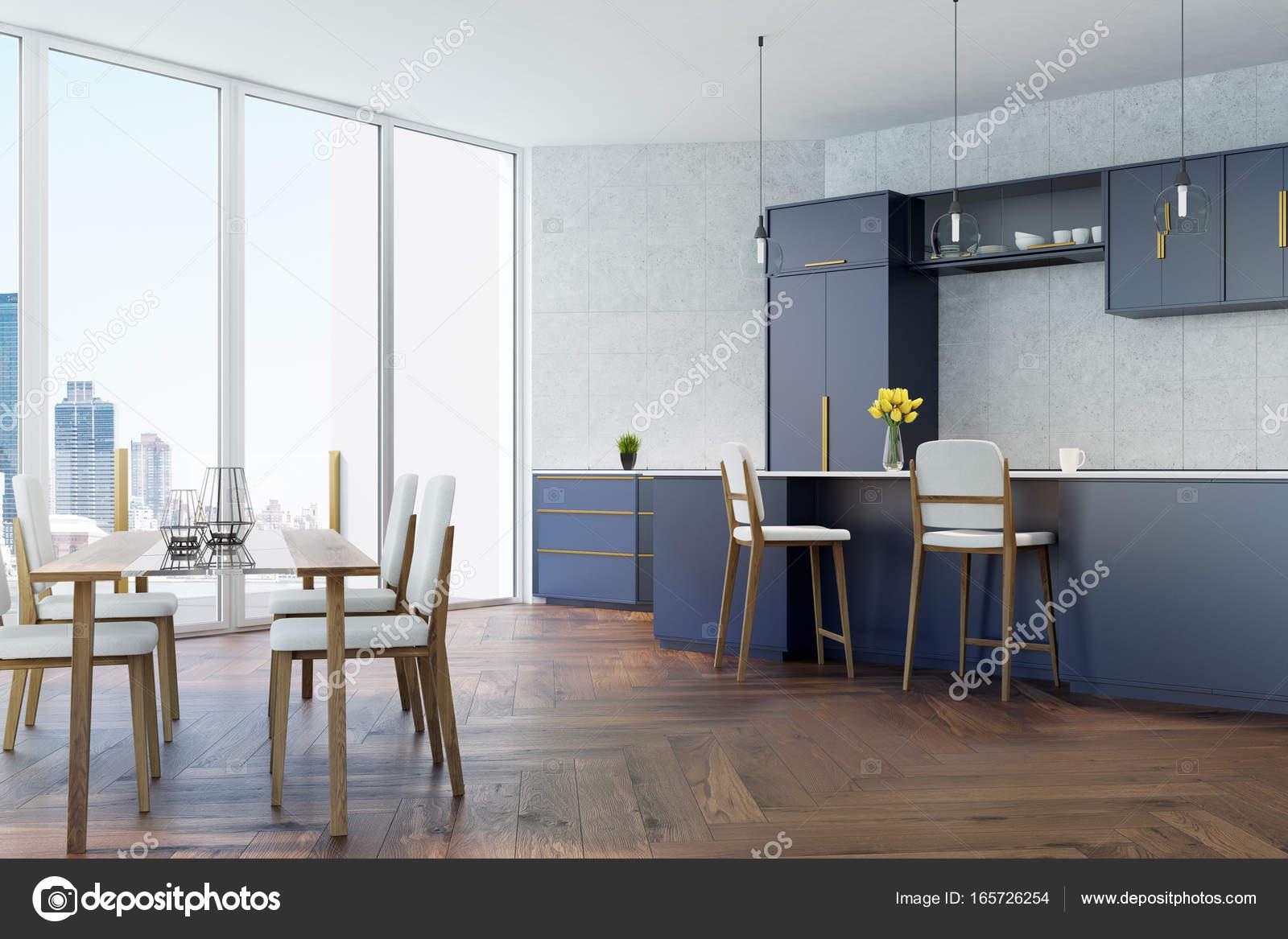 Cucina grigio e blu con una tabella u2014 foto stock © denisismagilov