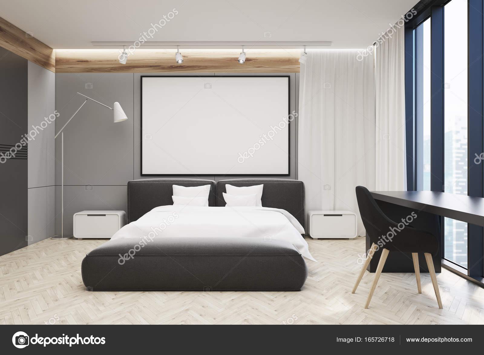Grote Posters Slaapkamer : Grijze en witte slaapkamer grote poster u stockfoto
