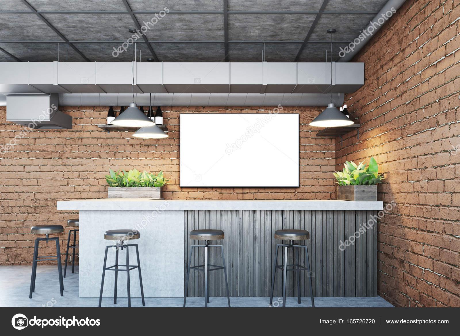 Bar De Tijolo Com Um Cartaz U2014 Fotografia De Stock