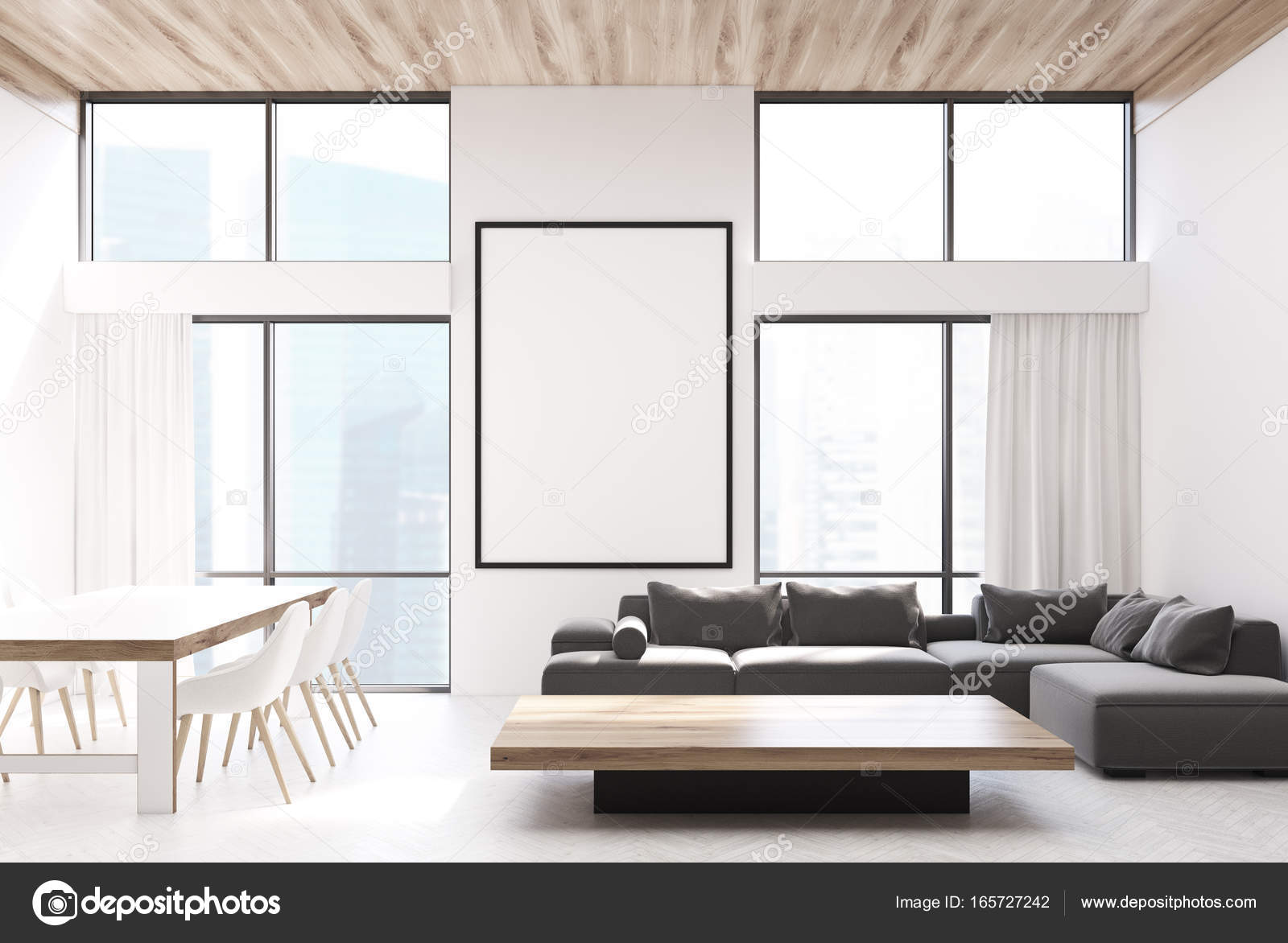Wit woonkamer, banken en een tabel — Stockfoto © denisismagilov ...