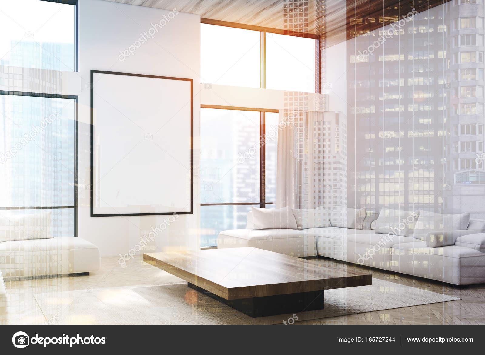 Wit woonkamer, banken en een dubbele poster — Stockfoto ...